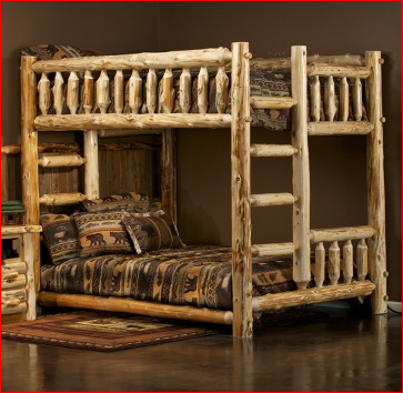 Rustic Log Bunk Beds Solid Wood Bedroom Furniture Made In The Usa