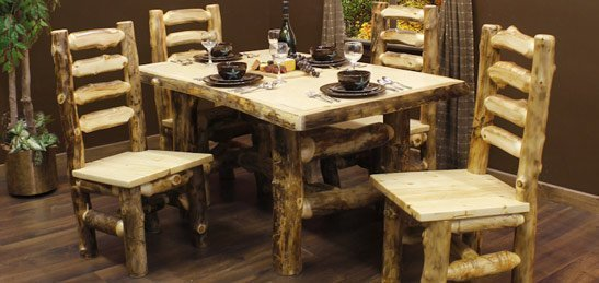log dining room furniture   Aspen Log Dining Room Chairs and Dining Table Sets
