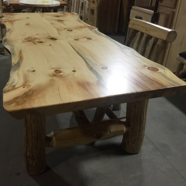 Pine Log Dining Tables And Pine Slab Dining Tables