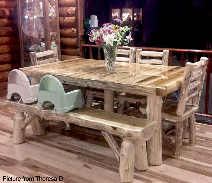 Cedar Lake Log Extending Dining Table With Leaf