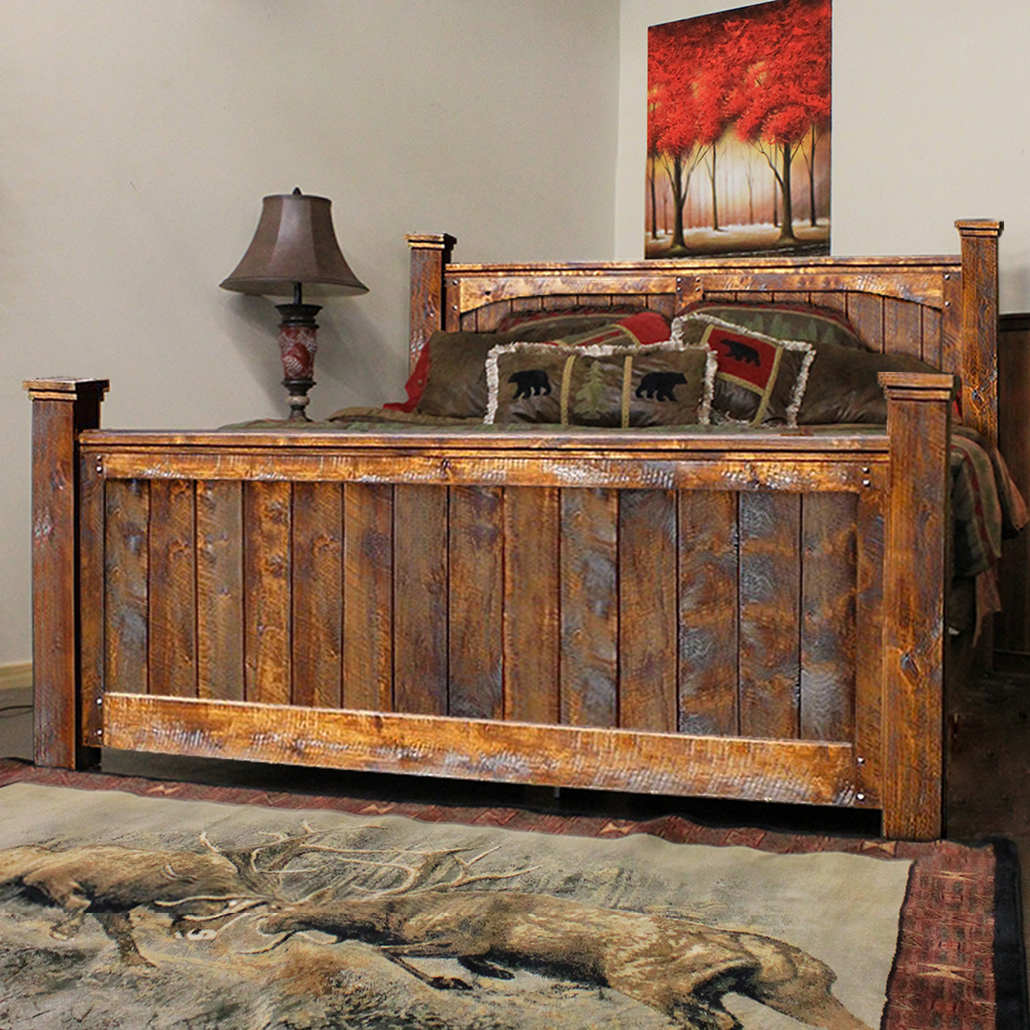 of wood touch reclaimed rustic southwestern barn the west bed bedroom style furniture barns western product