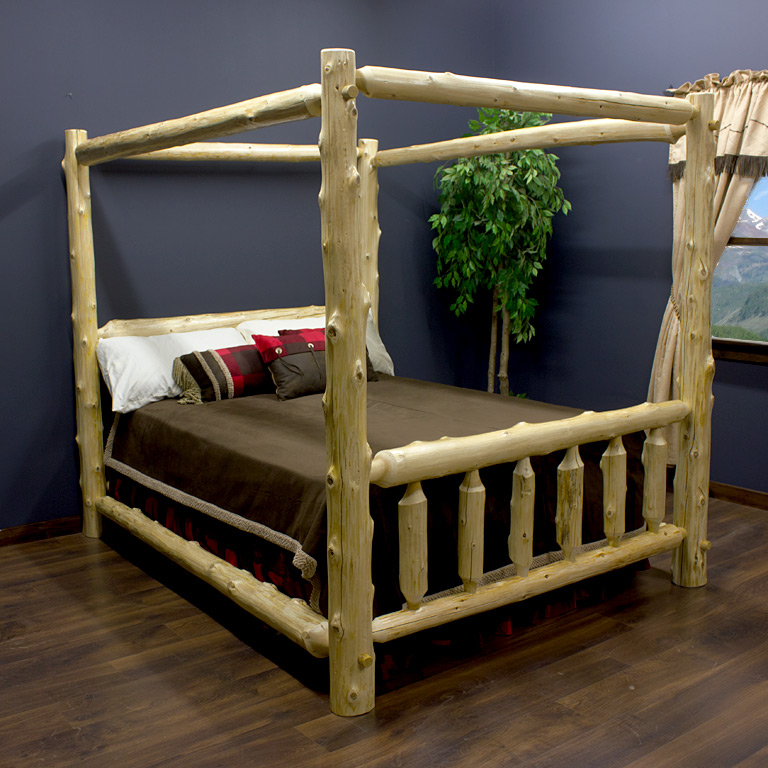 Cedar Lake Log Canopy Bed & Rustic Log Canopy Beds and Four Poster Log Beds