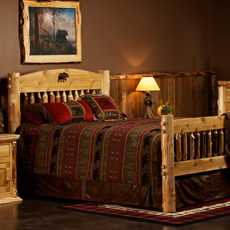 Cedar Lake Silhouette Cutout Log Bed. Log Beds including Rustic Beds  Log Cabin Bed  Aspen Beds