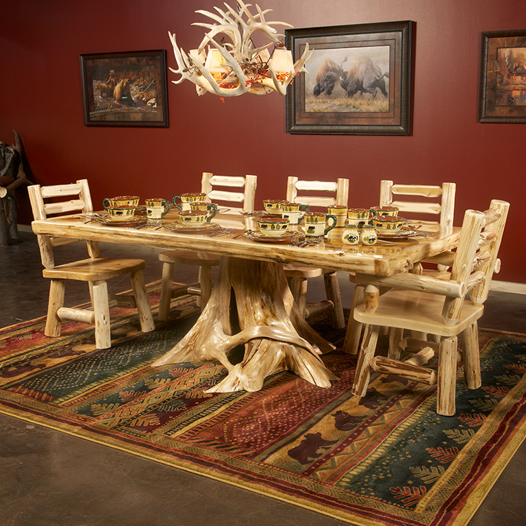 Cedar Lake Solid Wood Stump Base Dining Table