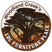 Laurel Hollow 2 Drawer Log Blanket Chest--Barnwood Lager finish, Metal strap handles